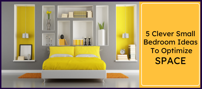 a well established bedroom with yellow bed